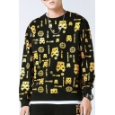 Unique Fashion All Over Gold Stamp Cartoon Printed Crewneck Loose Fit Black Pullover Sweatshirt for Guys
