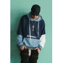Blue Colorblock Letter ZOOPBOY Printed Loose Casual Oversized Drawstring Hoodie