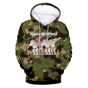New Trendy Funny Cartoon HIGHER BROTHERS Camouflage Print Long Sleeve Cozy Pullover Drawstring Hoodie