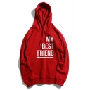 Unique Letter MY BEST FRIEND Arrow Printed Long Sleeve Loose Casual Pullover Hoodie
