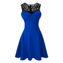 Chic Lace-Panelled Round Neck Sleeveless Simple Plain Mini A-Line Dress for Women