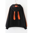Black Cute Cartoon Rabbit Ear Fashion Letter Print Pocket Patched Chest Long Sleeve Casual Hoodie