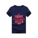 Simple Letter BLESS BEGETS LOVE Print Round Neck Short Sleeve Loose Casual Cotton Graphic Tee
