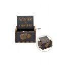 Popular Letter WINTER IS COMING Wolf Head Printed Retro Wooden Hand Cranked Music Box