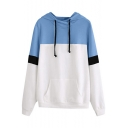 Loose Casual Stylish Colorblock Long Sleeve Pullover Drawstring Hoodie