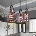 Rose Gold Lantern Suspended Light Modern Design Glass 1 Head Ceiling Pendant Lamp for Foyer