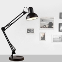 Adjustable 1 Light Dome Desk Light Contemporary Steel Desk Lamp in Black for Bedside