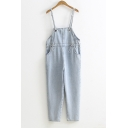 Students Basic Simple Plain Spaghetti Straps Straight Cropped Overall Jeans