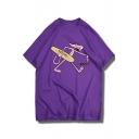 Funny Cartoon Skater Pink Panther Print Men's Cool Loose Fit Cotton T-Shirt
