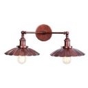 Loft Style Scalloped Wall Light Fixture Metallic 2 Heads Wall Sconce in Rust Finish