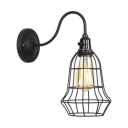 1 Head Metal Caged Lighting Fixture Retro Style Art Deco Wall Light Sconce in Black for Restaurant