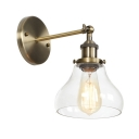 1 Head Gourd Wall Sconce Industrial Transparent Glass Lighting Fixture in Bronze Finish