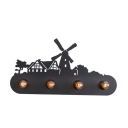 Metal Windmill Design Wall Lamp Rustic Style 4 Bulbs Wall Light Fixture in Black for Coffee Shop