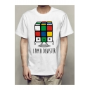Men's Funny Cartoon Letter I AM A DISASTER Magic Cube Print Short Sleeve White T-Shirt
