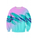 Stylish 3D Blue Wave Printed Crewneck long Sleeve Pullover Sport Sweatshirt