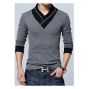 Men's Cool Button-Embellished V-Neck Long Sleeve Colorblock Slim T-Shirt