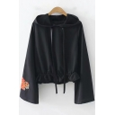 Chic Floral Embroidered Cuff Long Sleeve Fashion Ruffle Hem Drawstring Hoodie