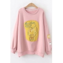 Cute Cartoon Embroidery Patched Round Neck Long Sleeve Loose Relaxed Pullover Sweatshirt