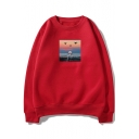 Cloud Astronaut Pattern Basic Crewneck Long Sleeve Relaxed Loose Sweatshirt