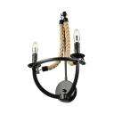 Natural Rope 2 Light LED Sconce In Black
