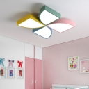 Metallic LED Flush Mount with Windmill Shape Modernism Multi Color Ceiling Lamp for Kindergarten