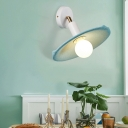 Blue Shallow Round Wall Lamp Modern Design Metal Single Light Wall Mount Light for Coffee Shop