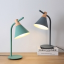 Conical 1 Head Standing Desk Light Simple Blue/Green Metallic Desk Lamp for Library Bedroom