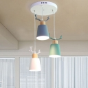 Multi Color Antler Hanging Pendant Light Iron Triple Heads Suspended Light for Kindergarten Bedroom