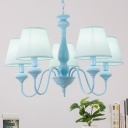 Sky Blue Shaded Hanging Light Modern Fabric Shade 5/6 Lights Chandelier Lamp for Kids Room