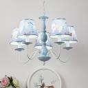 5 Lights Coolie Hanging Lamp with Cartoon Horse Children Room Metal Chandelier in Blue