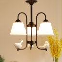 Fabric Tapered Shade Chandelier Lamp with Angel Rustic Style 3 Heads Suspension Light in Black/White