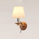 Tapered Wall Sconce Simple Concise Ripple Glass Shade 1 Light Wall Light Sconce in Chrome