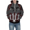 Cool 3D Armour Printed Loose Fitted Grey Pullover Drawstring Hoodie