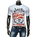 Trendy Letter NONSTOP CALIFORNIA Print Short Sleeve Men's Fitted Graphic Tee