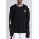 Cool Triangle Letter STREET STYLE Printed Long Sleeve Crewneck Cotton Oversized T-Shirt