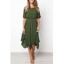 Summer Plain Round Neck Short Sleeve Elastic Waist Midi Asymmetrical Dress