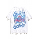 Awesome Cartoon Letter Octopus Graffiti Print Hip Hop Fashion Unisex Cotton Tee