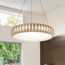 Champagne Gold LED Light Round Chandelier Modern Style Metal and Acrylic Hanging Pendant