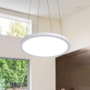 Wrought Iron Disc Chandelier in Simple Style 20-Inch Width White Finish Office Hanging Light
