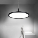 Face Plate LED Pendant Lighting Modern 1 Light Hanging Pendant in Black for Kitchen Island Dining Table