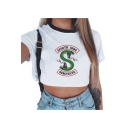 Popular Double-Headed Snake Logo Letter SOUTH SIDE Print Contrast Round Neck Short Sleeve White Cropped T-Shirt