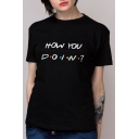 Letter HOW YOU DOIN Polka Dot Printed Round Neck Short Sleeve Tee
