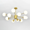Modern Chic Sphere Hanging Lamp Milky Glass Multi Light Suspension Light for Sitting Room