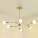 Branch Hanging Light Designers Style 6 Light Adjustable Metal Suspension Light for Bedroom