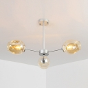 Bubble Shade Ceiling Lamp Modernism Cognac Glass 3 Light Art Deco Suspension Light