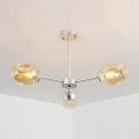 Bubble Shade Ceiling Lamp Modernism Cognac Glass 3 Light Art Deco Suspension Light