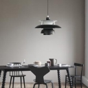 Shallow Flared Shade Pendant Light Post Modern Industrial Metal LED Suspended Light in Black