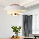 Modern Design 3 Tiers Pendant Light Metal Wire Powered Ceiling Light in White for Bedroom