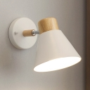 Rotatable Conical Shade Wall Sconce Minimalist Modern Small Metal Wall Light in White