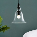 Designers Style Bell Hanging Light Height Adjustable Glass Ceiling Light for Study Room